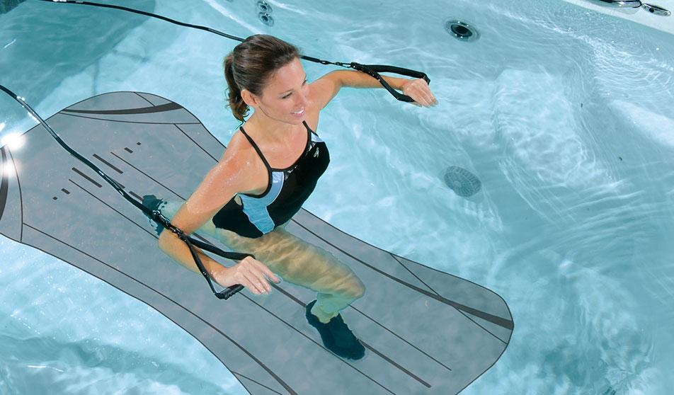 lady using h2x swim spa