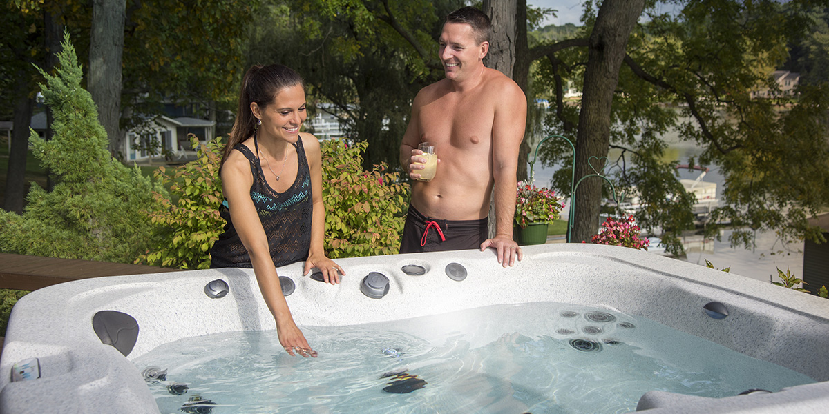 couple by hot tub